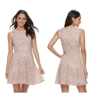 Lace Fit and Flare Dress LILY ROSE Pink/Grey